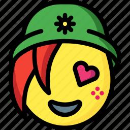 beanie, emojis, emotion, face, girl, love, smiley icon