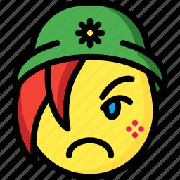 beanie, emojis, emotion, face, girl, sad, smiley icon