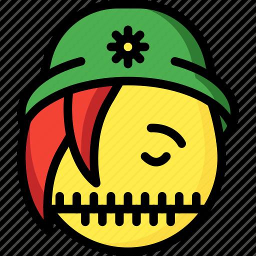 beanie, emojis, emotion, face, girl, silent, smiley icon
