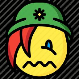 beanie, emojis, emotion, face, girl, sick, smiley icon