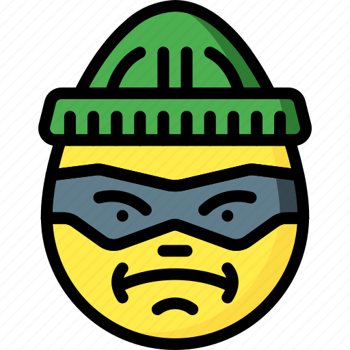 burglar, emojis, emotion, face, smiley icon
