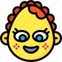 baby, emojis, emotion, face, girl, smiley icon