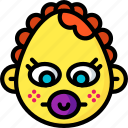baby, dummy, emojis, emotion, face, girl, smiley icon