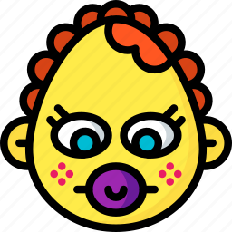 baby, dummy, emojis, emotion, face, girl, smiley icon