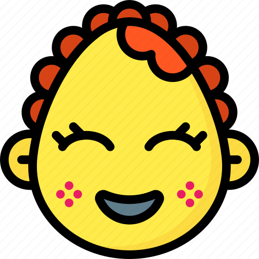 baby, emojis, emotion, face, girl, happy, smiley icon