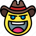 cowboy, emojis, emotion, face, smiley icon