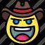cowboy, emojis, emotion, face, smiley icon