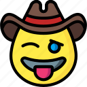 cowboy, emojis, emotion, face, smiley, tongue icon