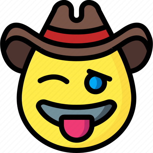 cowboy, emojis, emotion, face, smiley, tongue icon