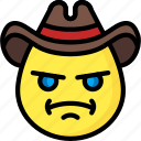 angry, cowboy, emojis, emotion, face, smiley icon