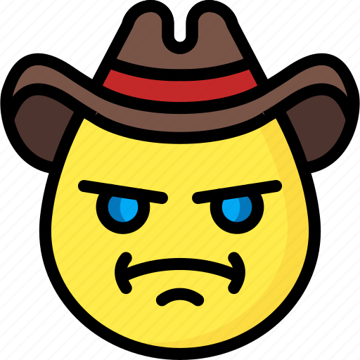 Angry, cowboy, emojis, emotion, face, smiley icon - Download on Iconfinder
