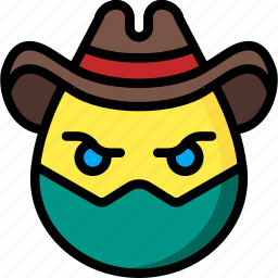 cowboy, emojis, emotion, face, masked, smiley icon