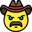 cowboy, emojis, emotion, face, mustache, smiley icon