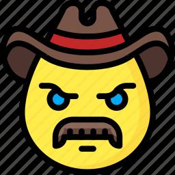 cowboy, emojis, emotion, face, mustache, smiley icon