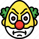 emotion, angry, smiley, clown, face, emojis