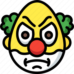 angry, clown, emojis, emotion, face, smiley icon