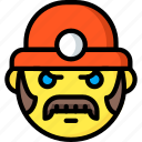 emotion, smiley, miner, face, emojis, moustache