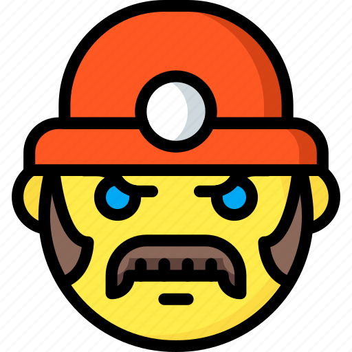 emojis, emotion, face, miner, moustache, smiley icon