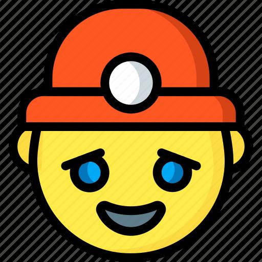emojis, emotion, face, happy, miner, smiley icon
