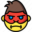 angry, emojis, emotion, face, man, masked, smiley icon