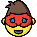 emojis, emotion, face, happy, man, masked, smiley icon