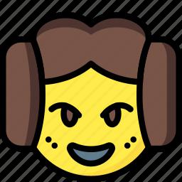 emojis, emotion, face, leia, princess, smiley icon