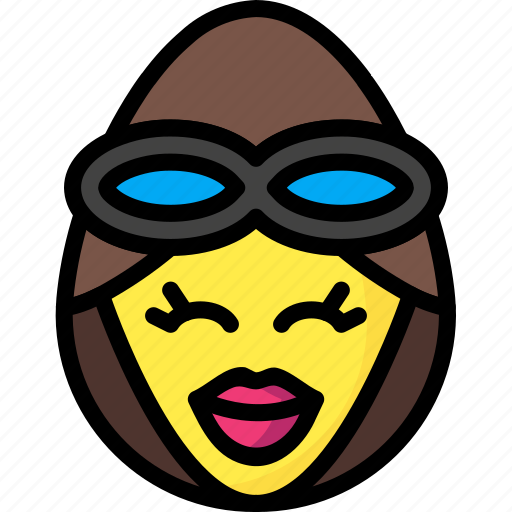 emojis, emotion, face, girl, pilot, smiley icon