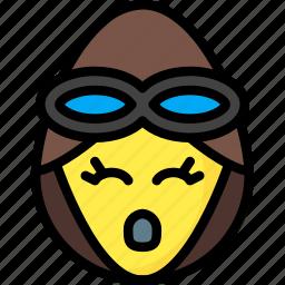 emojis, emotion, face, girl, oh, pilot, smiley icon