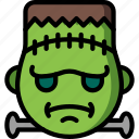cross, emojis, emotion, face, frankenstein, smiley icon