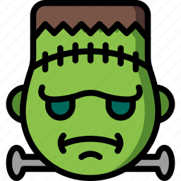 cross, emojis, emotion, face, frankenstein, smiley icon