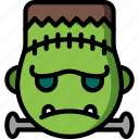 emojis, emotion, face, frankenstein, grumpy, smiley icon