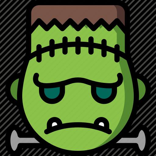 emojis, emotion, face, frankenstein, grumpy, smiley icon