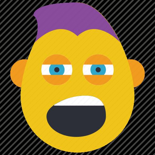 emojis, emotion, guy, punk, shout, smiley, thug icon