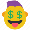 dollar, emojis, emotion, guy, rich, smiley, thug icon