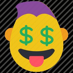 dollar, emojis, emotion, guy, rich, smiley, thug icon