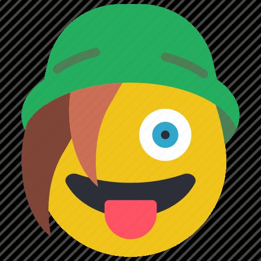 beanie, emojis, emotion, smiley, tongue icon