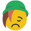 beanie, emojis, emotion, sad, smiley, upset icon