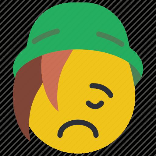 beanie, emojis, emotion, sad, smiley, upset icon