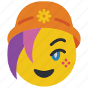 beanie, emojis, emotion, girl, smiley icon