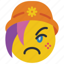 beanie, emojis, emotion, girl, sad, smiley, upset icon