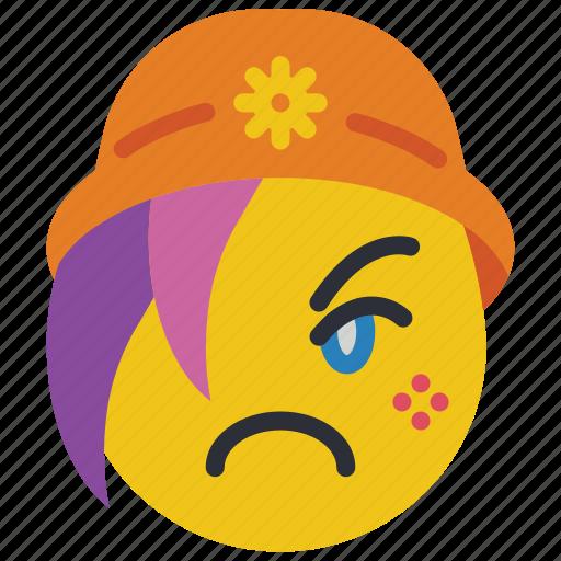 beanie, emojis, emotion, girl, sad, smiley, upset icon