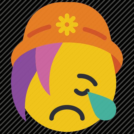 beanie, cry, emojis, emotion, girl, sad, smiley icon