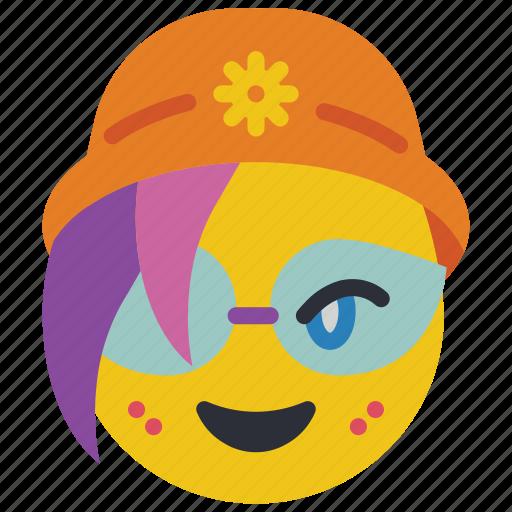 beanie, emojis, emotion, girl, glasses, smiley icon