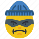 burglar, criminal, emojis, emotion, smiley, thug icon