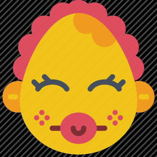 baby, dummy, emojis, emotion, girl, smiley, toddler icon