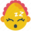 baby, emojis, emotion, girl, sleep, smiley, tired icon