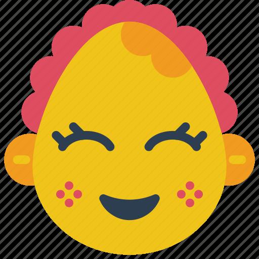 baby, emojis, emotion, girl, happy, smiley icon