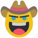 cowboy, emojis, emotion, rustler, smiley, western icon