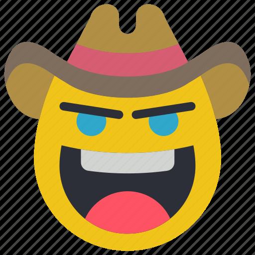 cowboy, emojis, emotion, rustler, smiley, western icon