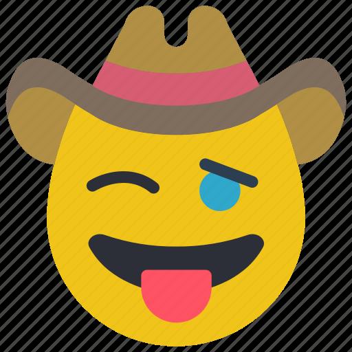 cheeky, cowboy, emojis, rustler, tongue, west, wild icon